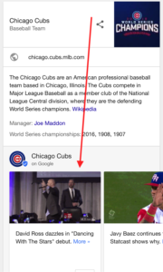 Cubs' Google Posts on Mobile Search
