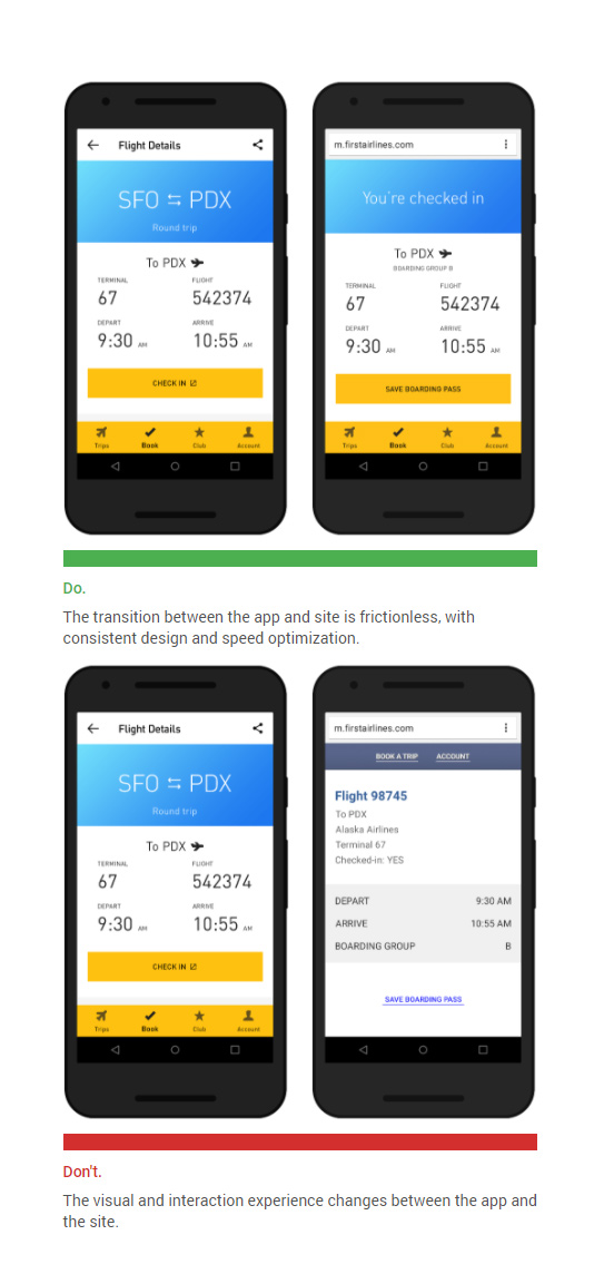 Transit between Mobile Apps and the Mobile Web